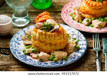 Chicken in a Puff Pastry Shell volauvent.selective focus