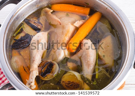 chicken in the pot - stock photo