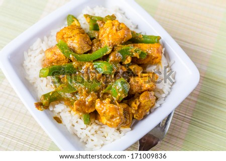 Chicken Jalfrezi - Spicy Indian or Pakistani Curry, with green peppers and hot sauce - stock photo