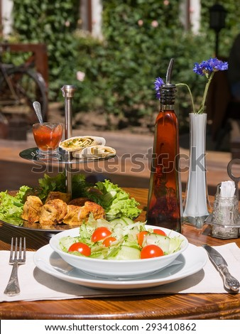 chicken kebab on a wooden skewer and fresh vegetable salad on a wooden background