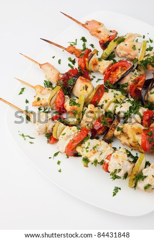 Chicken kebab on skewers - stock photo