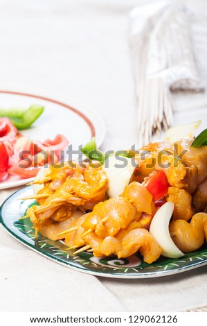 chicken kebab ready to be grill - stock photo