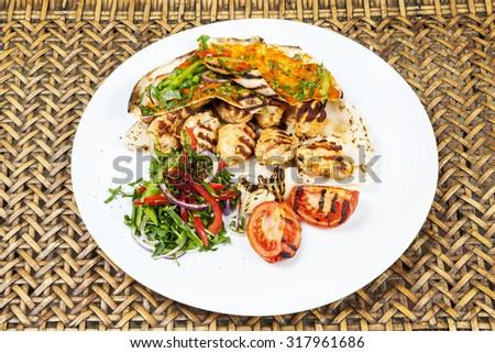 Chicken kebab Shawarma Plate  - stock photo