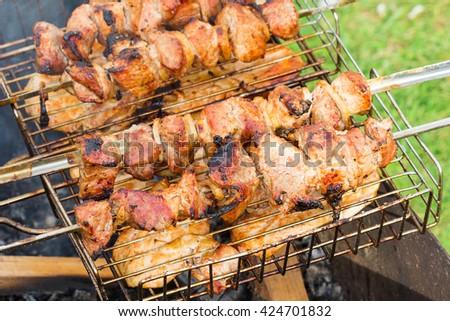 chicken kebabs chicken in nature - stock photo
