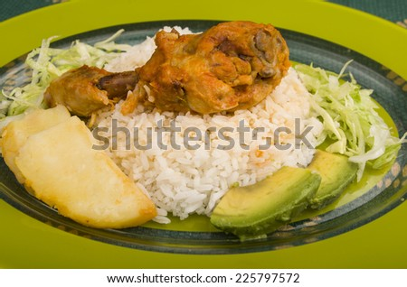 chicken leg served with white rice potato on a plate - stock photo