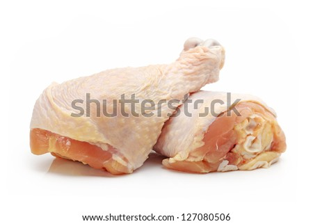 Chicken legs isolated on white background - stock photo