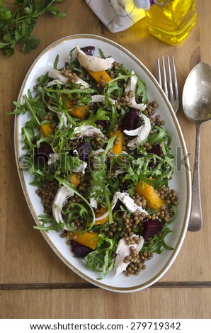 Chicken, lentil and squash medley - stock photo