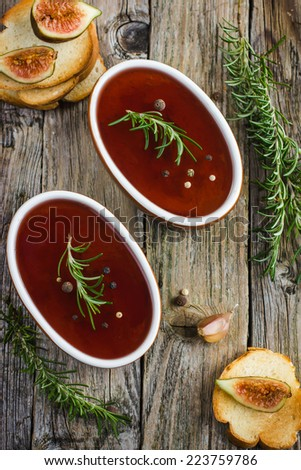 chicken liver pate with red wine jelly, top view - stock photo