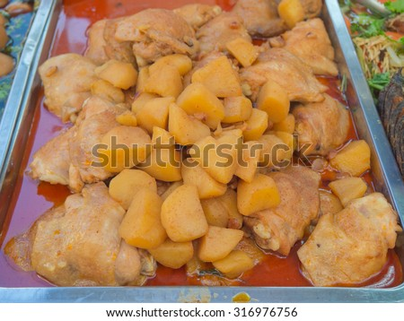Chicken Massaman or spicy Muslim curry - stock photo