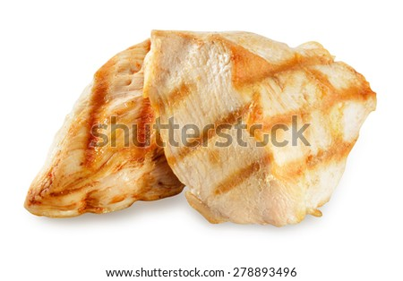 Chicken meat. Breast fillet slices isolated. With clipping path. - stock photo