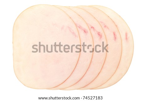 Chicken meat slices isolated on white background, clipping path included - stock photo