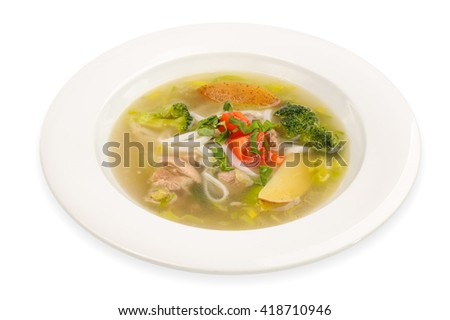 Chicken Noodle Soup isolated on white  - stock photo