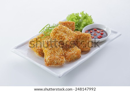 chicken nugget  with chili ketchup sauce - stock photo