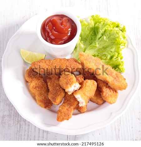 chicken nuggets - stock photo