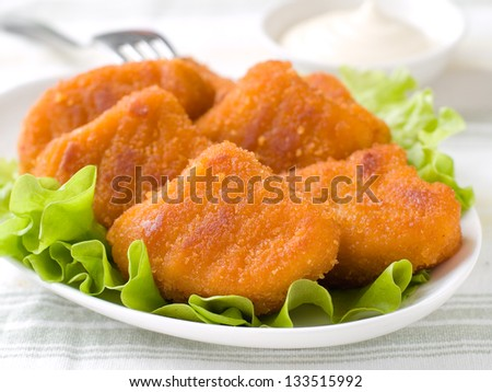 Chicken nuggets with mayonnaise, selective focus - stock photo