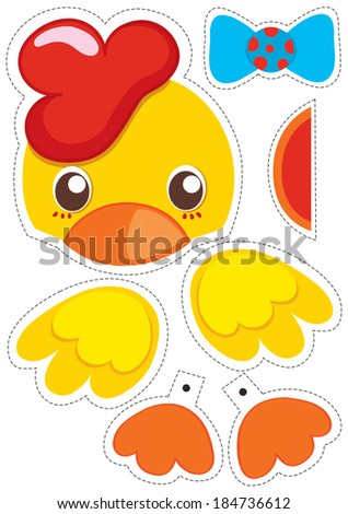 Chicken paper puppet for cut it out and play