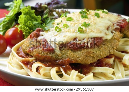 Chicken Parmigiana over fettucine, with a side salad. - stock photo