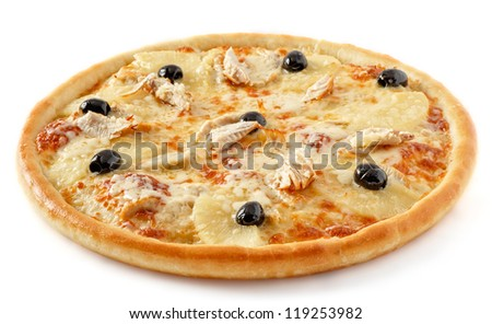Chicken pineapple pizza - stock photo
