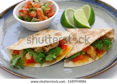 chicken quesadillas, mexican food