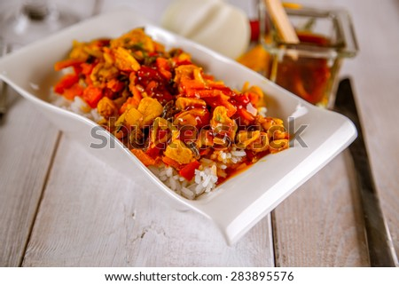 Chicken rice natural food, dinner in home - stock photo