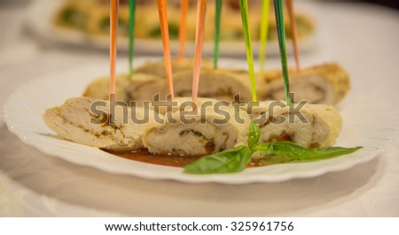 chicken roll with sauce - stock photo