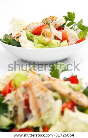 Chicken salad (focus on background) - stock photo