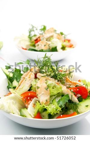 Chicken salad over white - stock photo