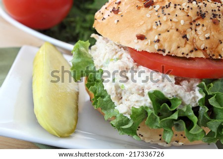 Chicken salad sandwich with lettuce and tomato - stock photo