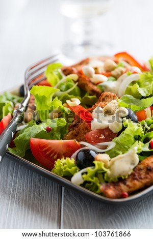 Chicken salad with black olives and garlic sauce - stock photo