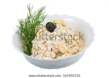 Chicken salad with dill - stock photo