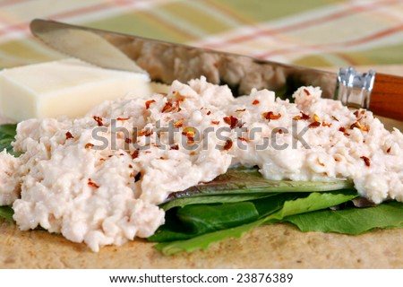 Chicken salad with lettuce, cheese and knife on a wheat wrap