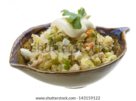 Chicken salad with ruccola
