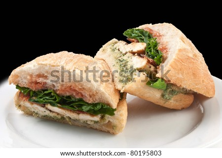 Chicken sandwich in a dish whith black background - stock photo