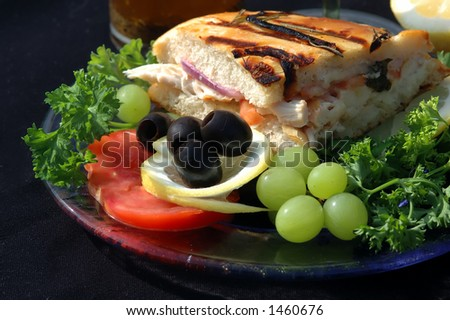 Chicken sandwich with grapes and veggies - stock photo
