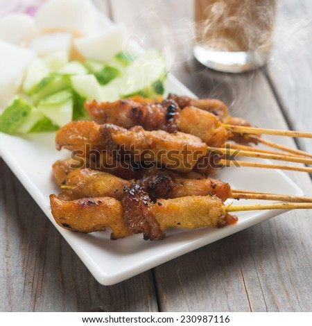 Chicken sate or satay, skewered and grilled meat, served with peanut sauce. Delicious hot and spicy Asian dish. Fresh cooked with steamed and smoke. - stock photo
