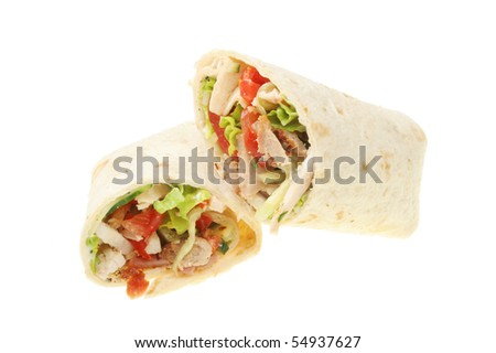 Chicken, sausage and salad bread wraps isolated on white