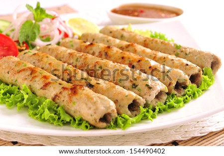 Chicken Seekh Kabab-12 - stock photo
