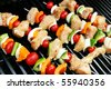 Chicken Shish Kabob on the grill - stock photo