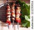 Chicken shish kebab - stock photo