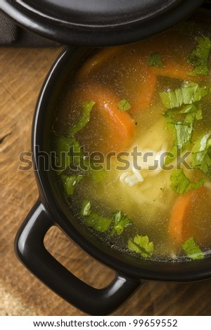 Chicken soup in the ceramic bowl - stock photo