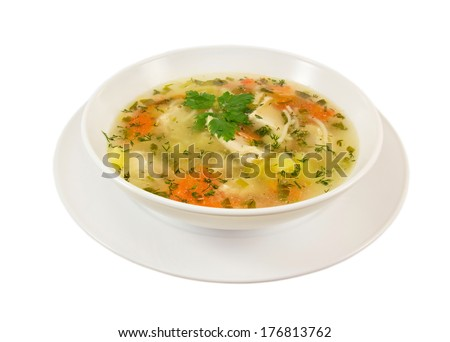 Chicken soup in white bowl isolated on white background. - stock photo