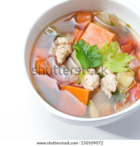 chicken soup with vegetable - stock photo