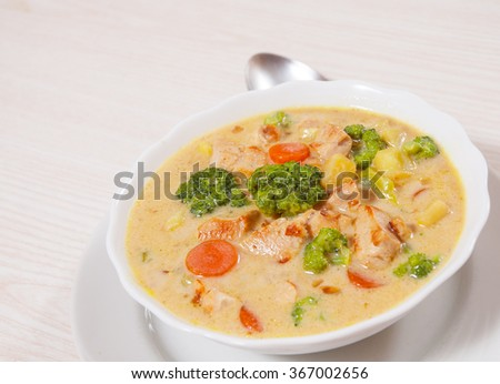 chicken soup with vegetables and cheese - stock photo