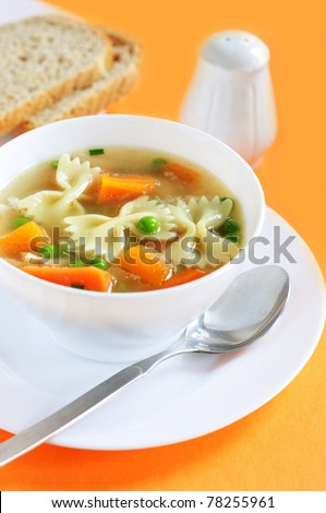 Chicken soup with vegetables and noodles - stock photo