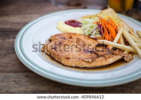 Chicken steak - stock photo