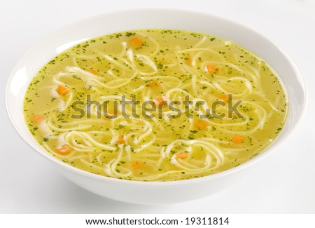 Chicken stock with noodles - stock photo