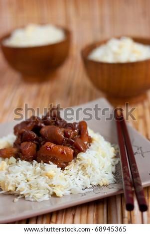 Chicken teriyaki with rice - stock photo