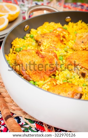 Chicken Thigh and Rice Biryani with Green Peas, copy space for your text - stock photo