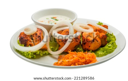Chicken Tikka - chicken indian food with onion - stock photo