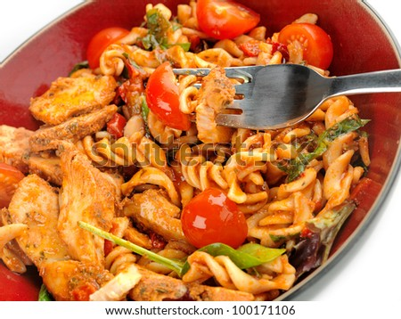 chicken, tomato and basil pasta with cherry tomato and olive oil dressing